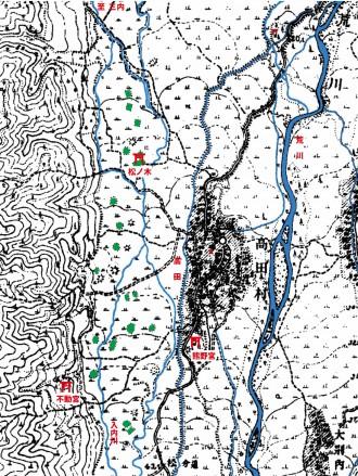 """図3 100年以上前の高田付近の地形図(国土地理院、1913(大正2)年)。着色で""""つむれ""""(緑色)と河川(水色)を表示。"""