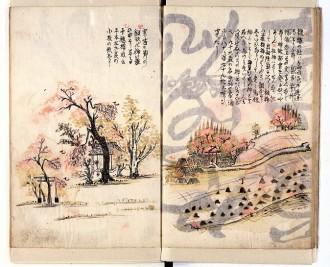 """図1 真澄の日記「すみかのやま」(寛政8年)の見開き絵図。左は三内の""""千本桜""""、右は高田の風景。"""